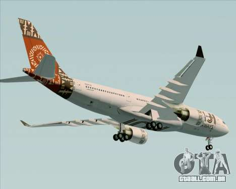 Airbus A330-200 Fiji Airways para GTA San Andreas vista superior