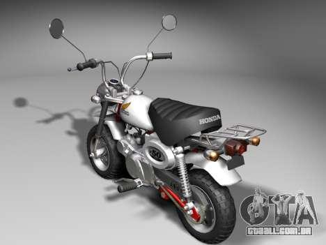 Honda Z50J Monkey para GTA San Andreas traseira esquerda vista