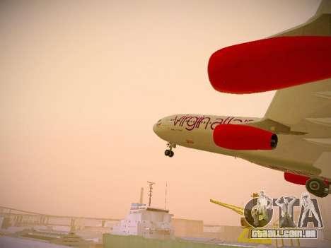 Airbus A340-300 Virgin Atlantic para GTA San Andreas interior