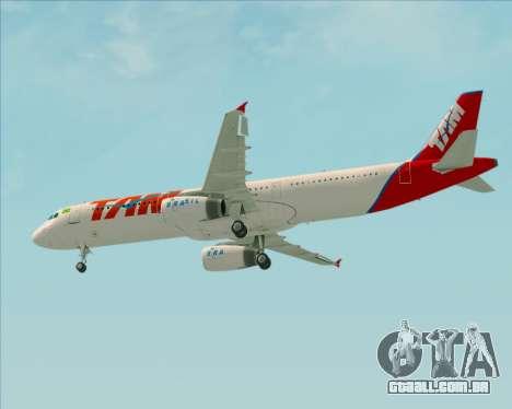 Airbus A321-200 TAM Airlines para GTA San Andreas vista interior