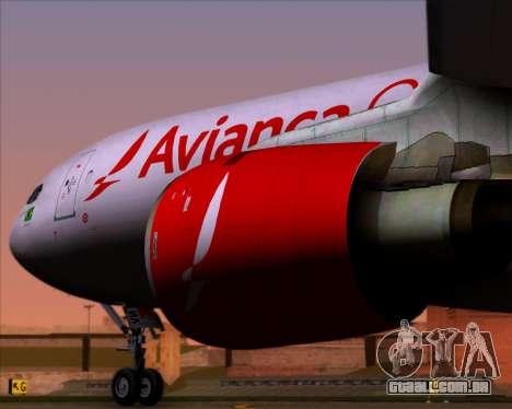Airbus A330-243F Avianca Cargo para GTA San Andreas vista traseira