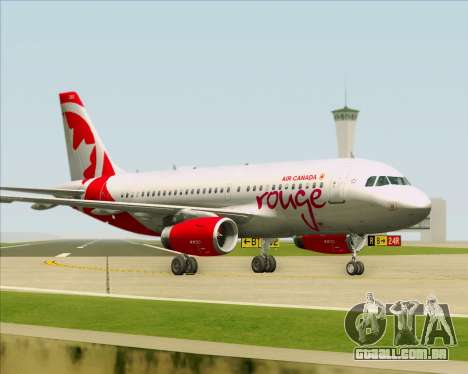 Airbus A319 Air Canada Rouge para as rodas de GTA San Andreas