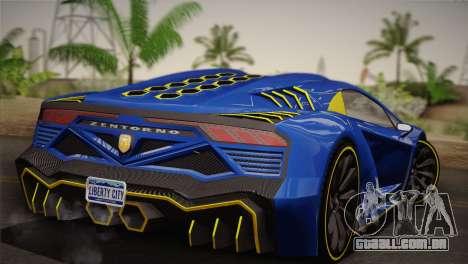 GTA 5 Zentorno para GTA San Andreas traseira esquerda vista