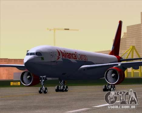Airbus A330-243F Avianca Cargo para GTA San Andreas esquerda vista