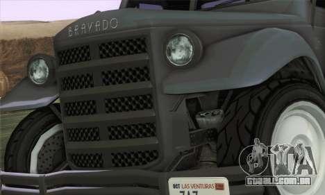Bravado Duneloader Classic 1.0 (HQLM) para GTA San Andreas traseira esquerda vista