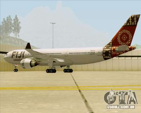 Airbus A330-200 Fiji Airways para GTA San Andreas vista traseira