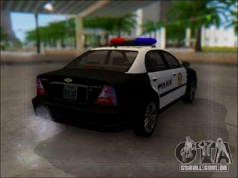 Chevrolet Evanda Police para GTA San Andreas vista traseira