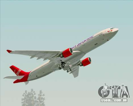 Airbus A330-300 Virgin Atlantic Airways para GTA San Andreas vista superior