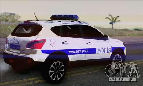 Nissan Qashqai TR POLÍCIA para GTA San Andreas esquerda vista