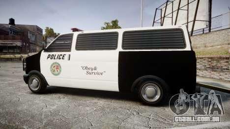 Declasse Burrito Police Transporter LED [ELS] para GTA 4 esquerda vista