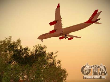 Airbus A340-300 Virgin Atlantic para GTA San Andreas vista direita