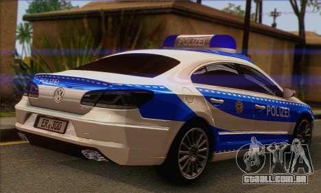 Volkswagen Passat CC Polizei 2013 v1.0 para GTA San Andreas esquerda vista