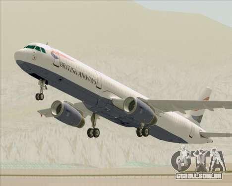 Airbus A321-200 British Airways para as rodas de GTA San Andreas