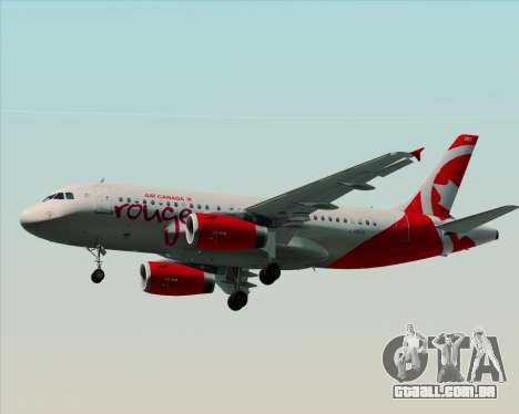 Airbus A319 Air Canada Rouge para GTA San Andreas traseira esquerda vista
