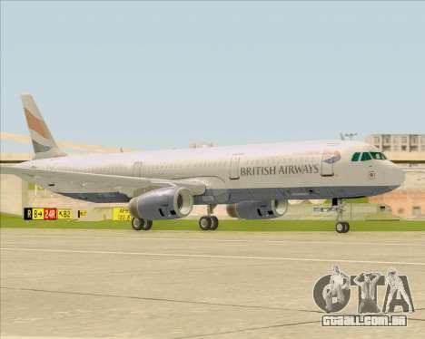Airbus A321-200 British Airways para GTA San Andreas esquerda vista