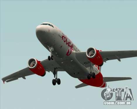 Airbus A319 Air Canada Rouge para GTA San Andreas vista superior