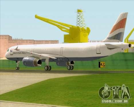 Airbus A321-200 British Airways para GTA San Andreas vista direita