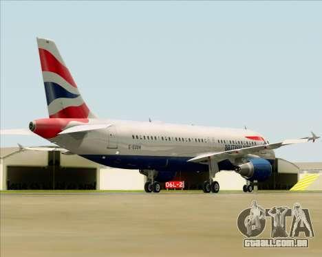 Airbus A320-232 British Airways para GTA San Andreas traseira esquerda vista