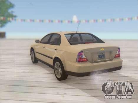 Chevrolet Evanda para GTA San Andreas traseira esquerda vista