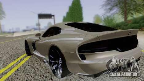 Dodge Viper SRT GTS 2013 Road version para GTA San Andreas esquerda vista