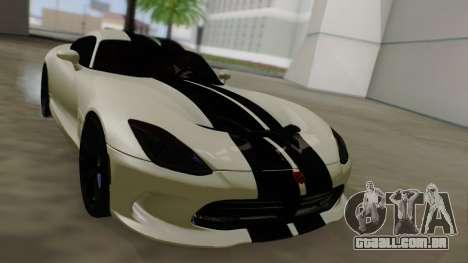Dodge Viper SRT GTS 2013 Road version para GTA San Andreas vista inferior