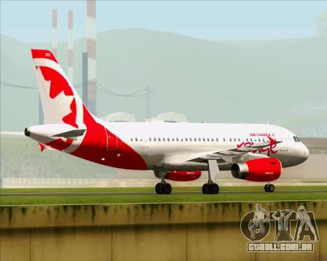 Airbus A319 Air Canada Rouge para GTA San Andreas vista traseira