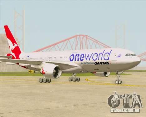 Airbus A330-200 Qantas Oneworld Livery para GTA San Andreas traseira esquerda vista