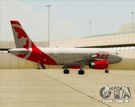 Airbus A319 Air Canada Rouge para vista lateral GTA San Andreas