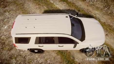 Chevrolet Tahoe 2015 PPV Slicktop [ELS] para GTA 4 vista direita