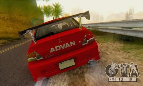 Mitsubishi Lancer Turkis Drift Advan para GTA San Andreas vista traseira