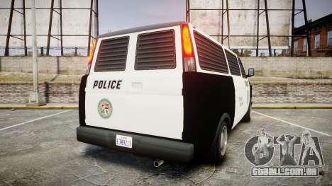 Declasse Burrito Police Transporter LED [ELS] para GTA 4 traseira esquerda vista