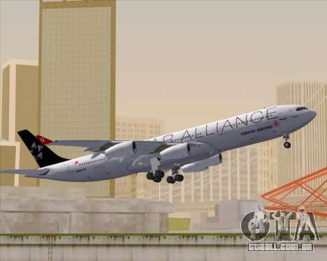 Airbus A340-311 Turkish Airlines (Star Alliance) para vista lateral GTA San Andreas