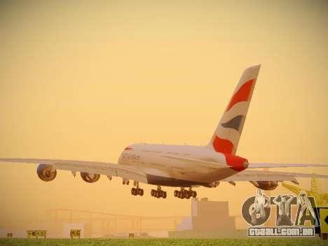 Airbus A380-800 British Airways para GTA San Andreas traseira esquerda vista