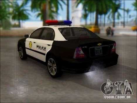 Chevrolet Evanda Police para GTA San Andreas traseira esquerda vista