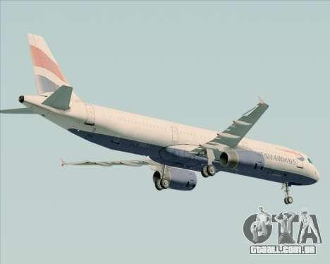 Airbus A321-200 British Airways para GTA San Andreas vista traseira