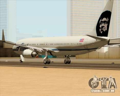 Boeing 737-890 Alaska Airlines para GTA San Andreas traseira esquerda vista