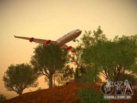 Airbus A340-300 Virgin Atlantic para GTA San Andreas vista traseira