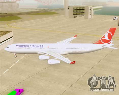 Airbus A340-313 Turkish Airlines para GTA San Andreas vista traseira