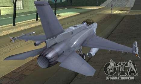 F-16D Block 60 para GTA San Andreas esquerda vista