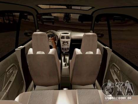 Subaru Impreza Wagon 2002 para GTA San Andreas vista interior