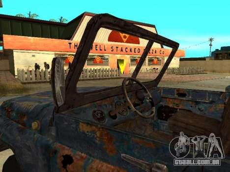 Polícia UAZ de Stalker para GTA San Andreas traseira esquerda vista