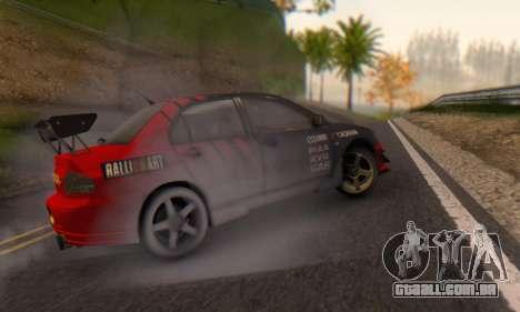 Mitsubishi Lancer Turkis Drift Advan para GTA San Andreas traseira esquerda vista