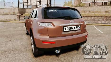 Infiniti FX 45 2008 RP para GTA 4 traseira esquerda vista