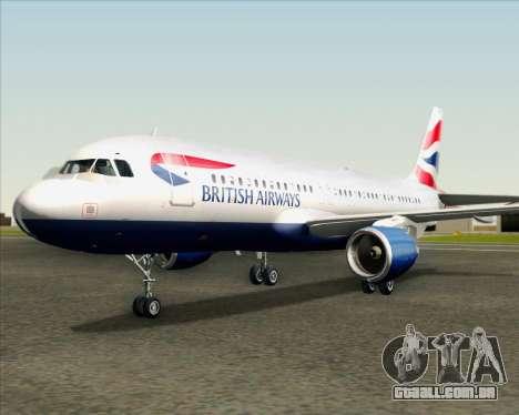 Airbus A320-232 British Airways para GTA San Andreas vista superior