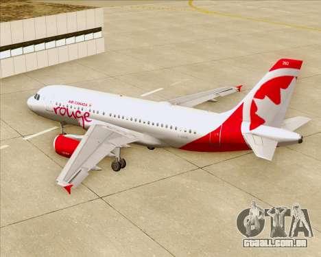 Airbus A319 Air Canada Rouge para o motor de GTA San Andreas