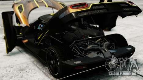 Koenigsegg Agera R 2013 PJ2 para GTA 4 vista de volta