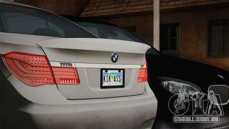BMW F01 750Li 2009 para GTA San Andreas traseira esquerda vista