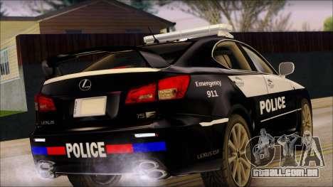 Lexus IS-F 2009 Police para GTA San Andreas esquerda vista