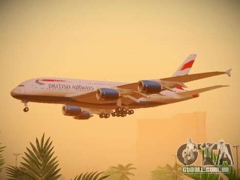 Airbus A380-800 British Airways para GTA San Andreas vista traseira
