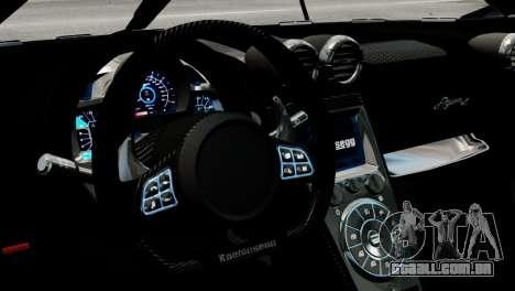 Koenigsegg Agera R 2013 PJ2 para GTA 4 vista interior